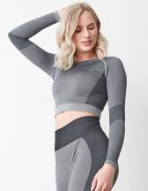 Ladies' Seamless Panelled Long Sleeve Crop Top