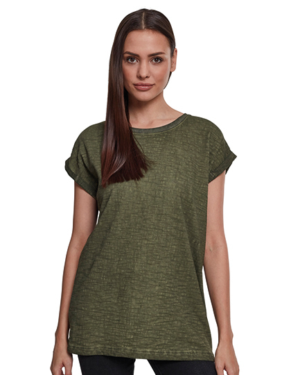 Ladies` Spray Dye Extended Shoulder Tee